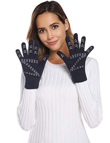 Gants d'écran Tactile Tricot Chaud Hiver Gants Chauds Tricotés pour Homme et Femme Unisexe, Bleu Marine, Taile unique