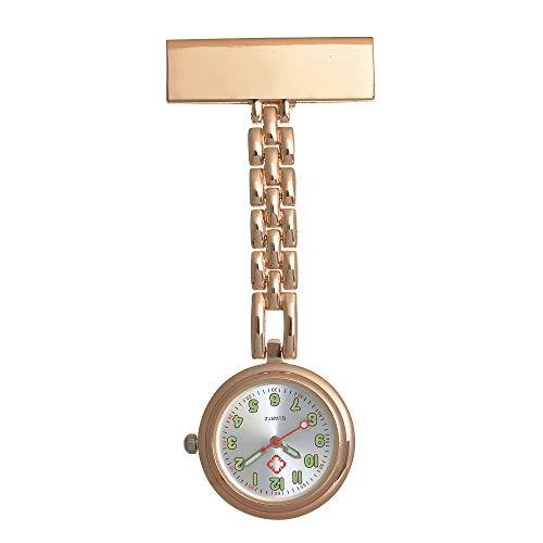 Cxypeng Reloj de Bolsillo Enfermera,Luminoso Impermeable Mesa de Enfermera Mesa Colgante Mesa de Estudiante Alfiler Mesa de Pecho-Oro Rosa A,Reloj médico para enfermería
