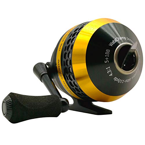 WataChamp Bees Spincast Fishing Reel,High Speed 4.3:1,Perfect Palming Size,S.S.D.Stainless Steel Ball Bearings, Reversible Handle for Left/Right Retrieve, with 6lbs Monofilament Line (Bees(Yellow))