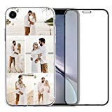 Custom Phone Case Compatible with iPhone XR with 1Pack Screen Protector for Ladies,for Girls,for Women,for Mother,for Men (Clear Layout 5 Pictures)
