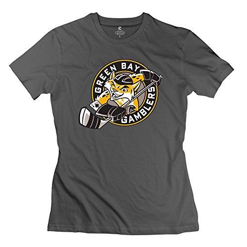Make Custom Style – Camiseta con cuello de rosca para mujer, logotipo de Green Bay Gamblers, Deep…