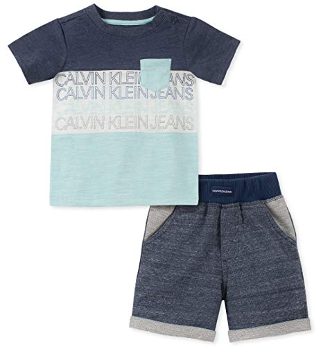 Calvin Klein Baby Boys 2 Pieces Shorts Set, Mint/Navy/Vanilla, 24M