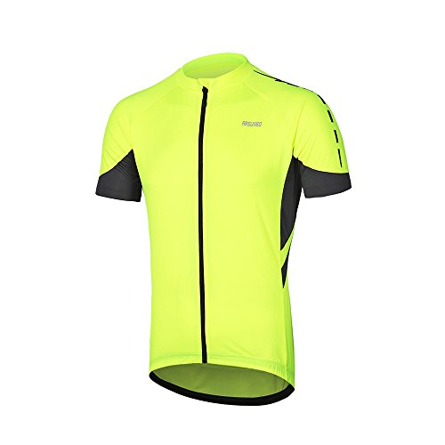ARSUXEO Men's Short Sleeves Cycling Jersey Bicycle MTB Bike Shirt 636 Green Size L