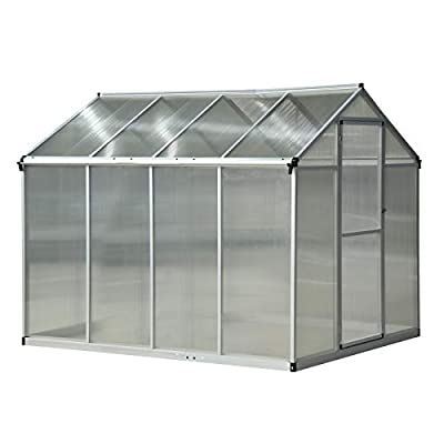 Outsunny Stable Outdoor Walk-in Garden Greenhouse with Roof Vent and Rain Gutter for Plants, Herbs, and Vegetables, 8' Lx 6.25' W