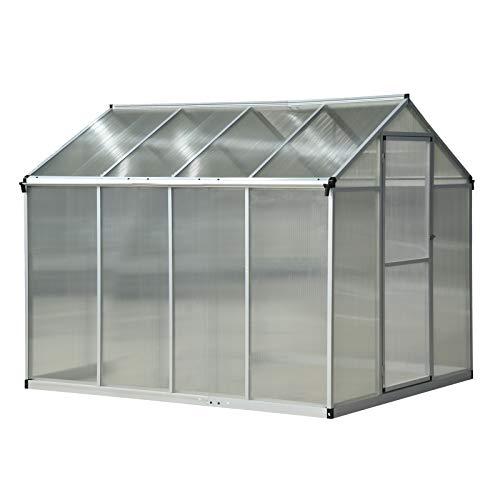Outsunny Serra per Piante Porta Scorrevole Base Zincata Orto Tetto Regolabile Porta Scorrevole Telaio in Alluminio 242 x 190 x 195 cm