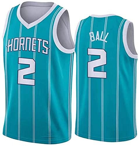 XZWQ Camisetas De Baloncesto para Hombre, NBA Hornets # 2 Ball City Edition Jersey Malla Bordada Baloncesto Swing Hombres Jersey,Azul,XXL