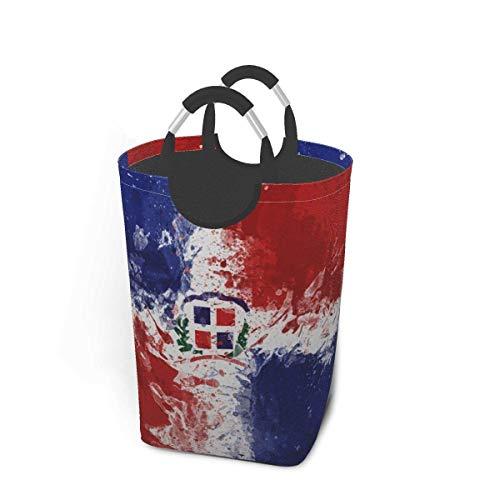 NA Cesta de lavandería Grande, Bolsas de lavandería Plegables con Bandera de la República Dominicana con Asas de Aluminio, Bolsa de Ropa de Tela Oxford para lavandería