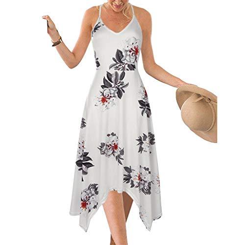 Routinfly Damen MaxiKleid Ärmelloses Neckholder Kleid Sling-Druck Kleid Genähtes hoher Taille Kleid Knielanges Kleid S-XXL
