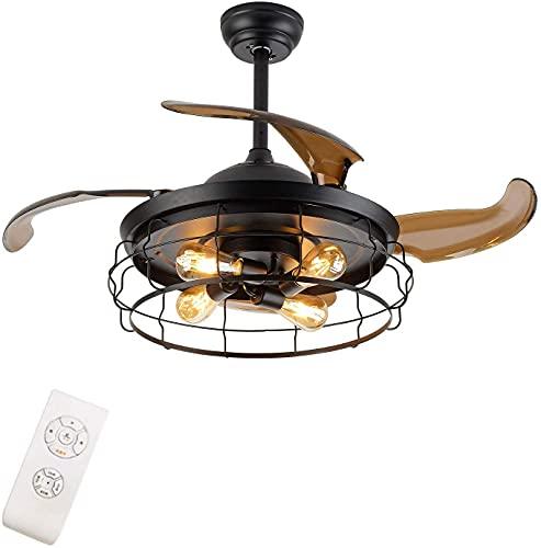 MAMINGBO Luces de ventilador de techo interior Ventilador de techo con luz industrial ligera Cuchillas retráctiles Vintage Jaula Ventilador de araña con control remoto (tamaño : 42 Inch)