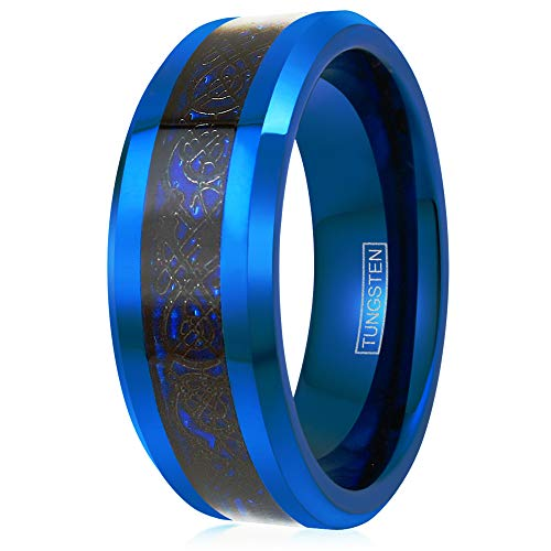 King's Cross Stunning 8mm Sapphire Blue Tungsten Carbide Band Ring with Black Celtic Dragon on Deep Dark Blue Faux Carbon Fiber Inlay feat. Beveled Edges & Comfort Fit Inner Band. (12.5)