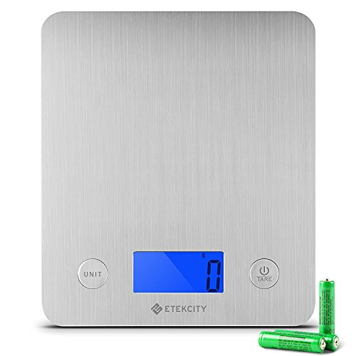 Etekcity Large Food Scale Digital Kitchen Weight Grams and Ounces for Baking and Cooking Stainless Steel, Blue Display