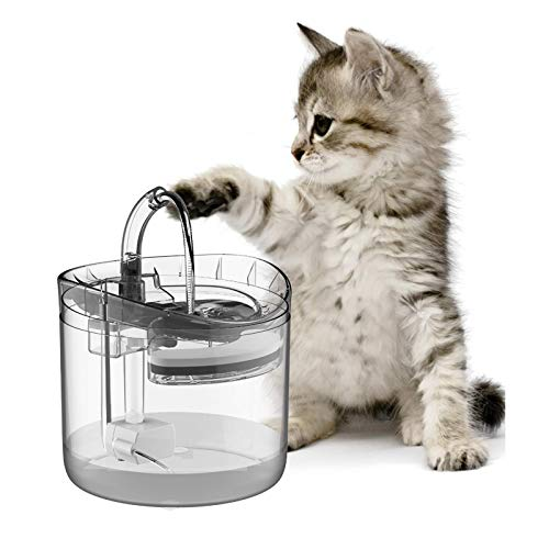 LORDWEY Cat Fountain Pet Dog Water Dispenser,Clear Large Filtered Cats Drinking Fountains 1.8L,Automatic Waterfall Bowl Indoor Gifts Running Jug Round Quiet Clean Great with Faucet Filter Replacement