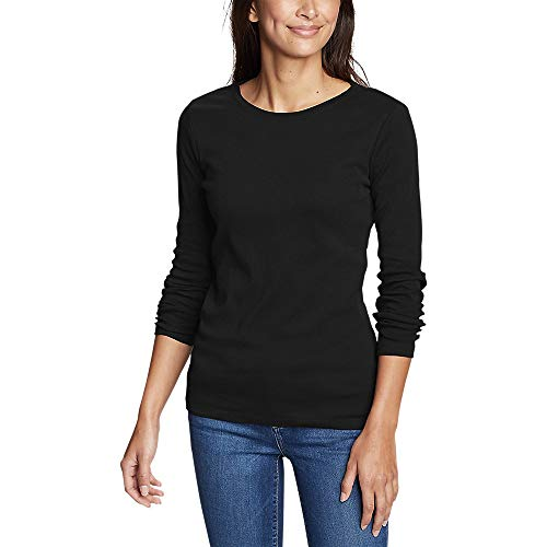 Eddie Bauer Women's Favorite Long-Sleeve Crewneck T-Shirt, Black Regular M