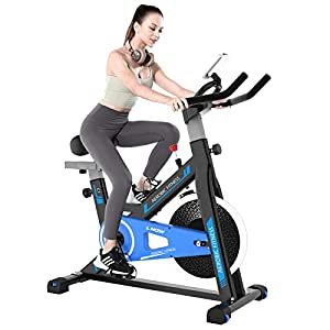 Cycool Exercise Bike, Indoor Stationary Bike for Home Cardio Gym, Belt-Driven Exercise Bike with 35 lbs Flywheel, Equipped with Fully Adjustable Sports Seat, Smooth and Quiet