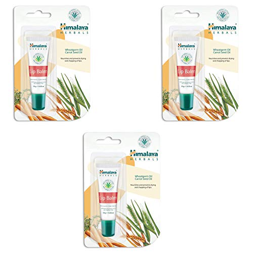 Himalaya Lip Balm with Wheatgerm Oil & Carrot Seed Oil Repairs Dry and Chapped Lips, Enhances Lip Color, Prevents Moisture Loss and Contains Essential Nourishment of Vitamin E -10g (Pack of 3)