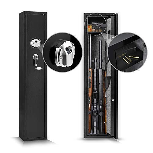 Biometric Fingerprint Rifle Safe 4-Rifle Large Capacity Upgrade Gun Safe Quick Access Storage Lockable Cabinet for Home Office with Handgun Holders and Pistol/Handgun Lock Box