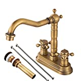 """Gecious Antique Brass Centerset Faucet Two Handle with Pop-up Drain and Hoses, Cross Knobs, Basin Mixer Tap Three Holes, Swivel 4"""" Centerset Bathroom Sink Faucet"""