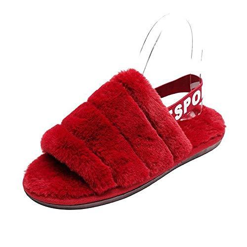 HUSHUI Caliente Suave Antideslizante Slippers,Calientes Pantuflas Antideslizantes, Punta Abierta Felpa Cotton-Red_37,Interior Casa Caliente Pantuflas