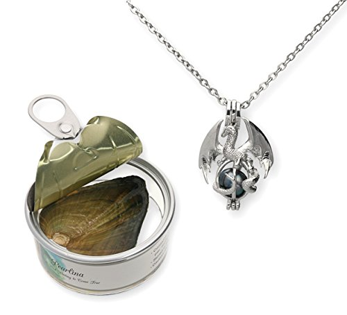 Pearlina Dragon Cultured Pearl in Oyster Necklace Set Silver-tone Cage w/Stainless Steel Chain 18