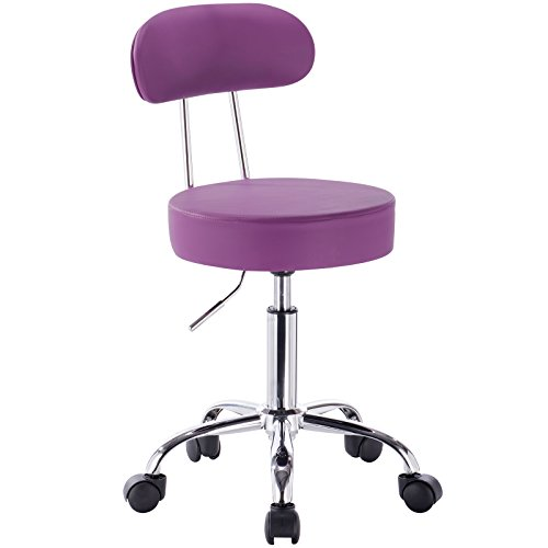 WOLTU® 1 Stück Arbeitshocker Drehhocker Rollhocker Drehstuhl Hokcer Bürostuhl mit Lehne höhenverstellbar Violett BH34vl-1