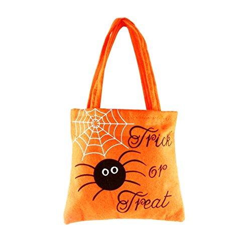 fansi Halloween de cesta de dulces de bolsa de los Niños Nich tgewebte Galletas de tentempiés de fruta de bolsas de regalo de bolsa Portable 20cm * 18.5cm bolsa, color naranja, tamaño Über 20*18.5CM