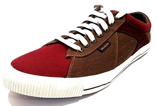 Woodland Men's BRGNDY Canvas Sneakers - 10 UK/India (44EU), (GC 2541117C)