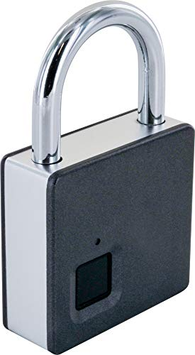 SCHWAIGER -715958- Schlüsselloses Fingerabdruckschloss | IP65 Wasserdichtes Lockerschloss | inkl. Notfallschlüssel | Smartes Vorhängeschloss mit USB Aufladung fürs Gym, Keller, Werkstatt, Spint, etc.