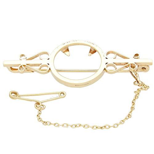 Womens Hanger Bedel | 9Carat Geel Goud 1/10e Krugerrand Mount Broche (46x17mm) | Een van een soort sieraden