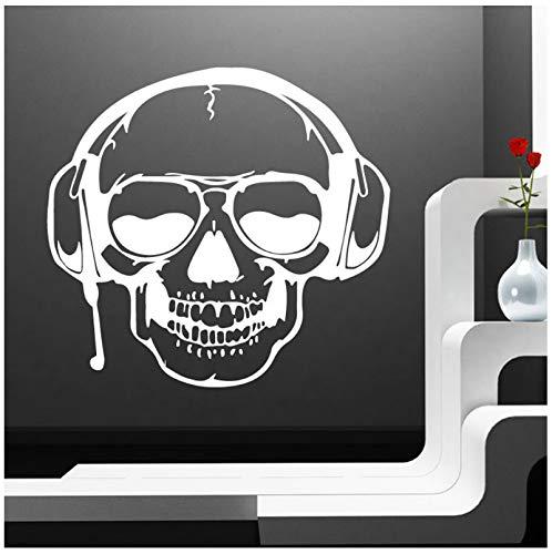 Wandaufkleber 3D Schädel Musik Haushalt Abnehmbare Halloween Dekoration Maison Wohnkultur Ornamente 57 * 61 CM