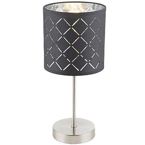 Stoff Tisch Lampe Wohn Schlaf Zimmer Schalter Lese Strahler Beleuchtung grau silber Globo 15228T