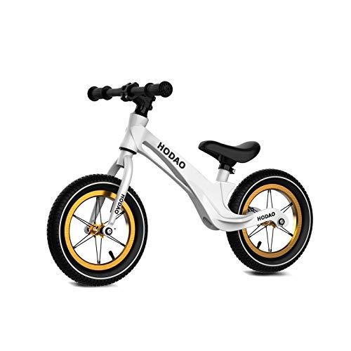 "Bicicleta sin Pedales con Sillin Regulable Ruedas 12"" Aleación de Aluminio Bicicleta de Equilibrio de 2 a 6 años | Blanco"