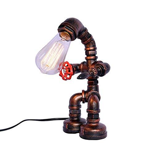 MOZUSA Robot Creativo Escritorio de Oficina estudiar la luz de la lámpara Industrial Retro Loft de Bricolaje con Red Grifo de la válvula Antigua de óxido de Color Hierro Tubería de Agua de la lámpara