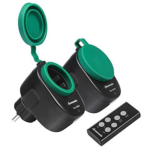 DEWENWILS Funksteckdosenset Aussen, Programmierbare Steckdosen mit Fernbedienung, IP44, 2er Funksteckdosen und 1 Fernbedienung für Feiertagsdeko, 3680W, 30 M Reichweite, CE und TÜV zertifiziert