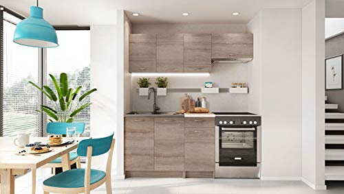 Cuisine MELA chene clair aspect blanchi 1m80-5 meubles