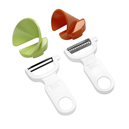 KUHN RIKON 23071 23011 Click-n-Curl Spiralizer Set with Swiss and Julienne Peelers, Plastic, White/Orange/Green
