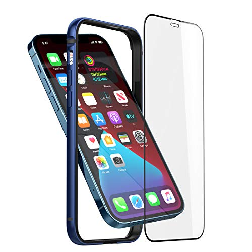 Bumper Hülle Kompatibel mit iPhone 12 Pro Max, Dünne Schutzhülle Metall Bumper Case mit Weichem TPU [Keine Signalstörung] [Unterstützung Wirless Charging] mit iPhone 12 Pro Max, blau