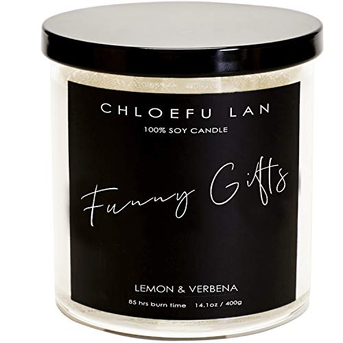 CHLOEFU LAN Lemon & Verbena Luxury Scented Candle for House Energy Cleansing Soy Candles Funny Gifts 400g, 90 Hours Highly Scented & Long Lasting Burning Candle, Clear Large Jar