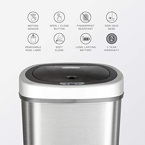 NINESTARS DZT-50-9 Automatic Touchless Infrared Motion Sensor Trash Can, 13 Gal 50L, Stainless Steel Base (Oval, Silver/Black Lid)