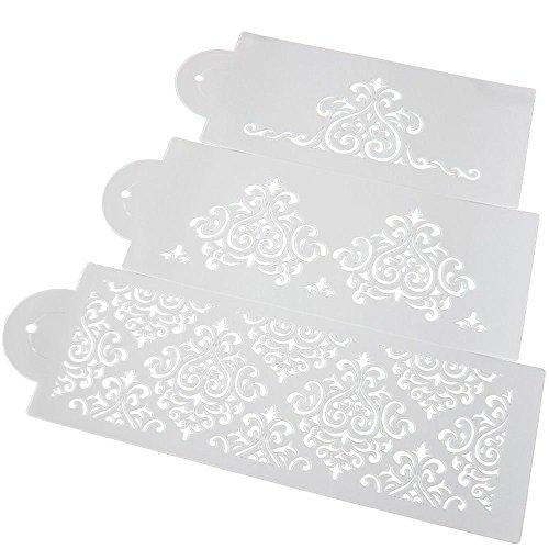 GOOTRADES 1 Set 3 STK Plastik Kuchen Schablonen, Hochzeitstorte Schokoladen Zucker Sieb Dekor Verziert Werkzeuge