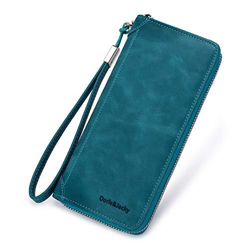Auner Damen Geldb/örse mit RFID-blockierendem Leder Rei/ßverschluss um die Clutch gro/ße Reisetasche