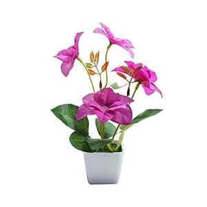 Silk Flower Arrangements Floral Decor Artificial Flower Plant Plastic Pot Bonsai Garden Table Party Room Decoration for Wedding Home Accessories Decoration Room Decor - (Color: Purple Bougainvillea)