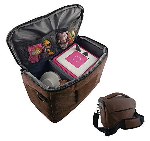 Tasche für Toniebox und Zubehör mit Schultergurt | Platz für bis zu 16 Hörfiguren, Ladestation, Lauscher | BRAUN | geeignet für Tigerbox Touch | Transport-Tasche Reisetasche Musik-boxen Musikwürfel