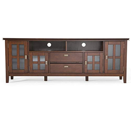 Simpli Home Artisan SOLID WOOD Universal TV Media Stand, 72 inch Wide, Contemporary, Entertainment Center, Storage Cabinet with Glass Doors, for Flat Screen TVs up to 80 inches Russet Brown