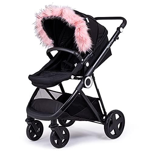 For Your Little One Compaitble with Pram Fur Hood Trim Attachment for Pushchair Mamas & Papas - Light Pink
