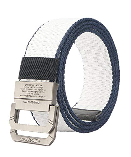 Longwu Cinturón táctico casual de doble hebilla con anilla en D de lona militar para hombres Blanco