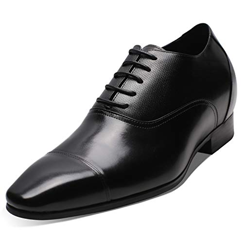 CHAMARIPA Elevator Shoes Tuxedo Leather Dress Height Increasing Shoes 2.96 Inch Taller K4022 US 9