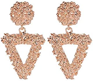 Style Triangle Relief Earrings Frosted Alloy Temperament Fashion Earrings Jinlyp (Color : Rose Gold)