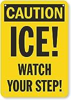 安全標識-注意-氷!足元に気を付けて。インチ金属錫サインUV保護および耐候性、通知警告サイン