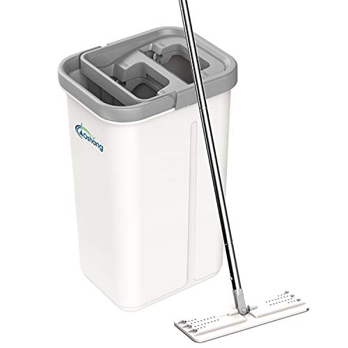 oshang Flat Floor Mop and Bucket Set for Floor Cleaning, Hands Free Squeeze Mop for Hardwood,Laminate Floor. Stainless-Steel Handle, 2 Washable & Reusable Microfiber Mop Heads