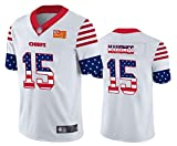 Maillot de Rugby Homme Patrick Mahomes # 15, Maillot de Football Américain Maillot Sport Manches Courtes Top T-Shirt Jersey Maillot Rugby-White-M(175~180)